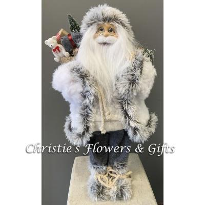 Cozy Gray Fur Santa