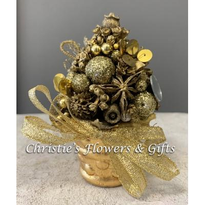 Mini Christmas Tree Ornament - Gold