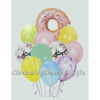 Donut Party Extra Large Balloon Bouquet With Flowers
