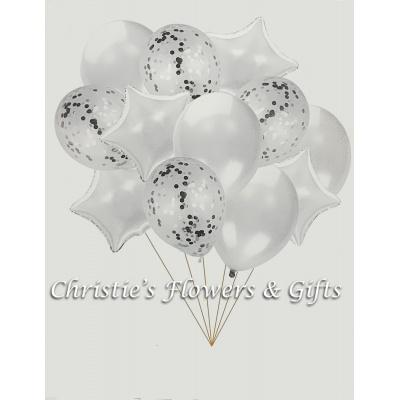 Silver Extra Large Balloon Bouquet With Flowers