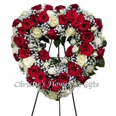 Red and White Rose Heart Wreath