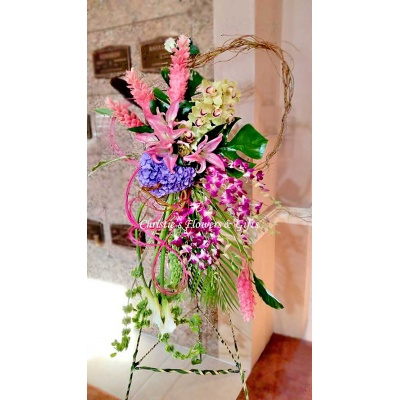 Pink Ginger Tropical Floral Easel