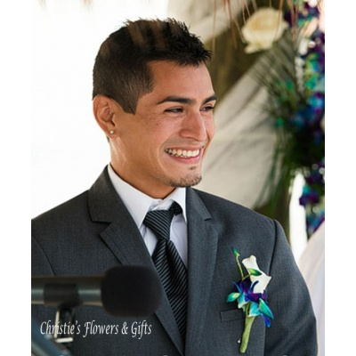 Dendrobium Orchid and Calla Lily Boutonniere