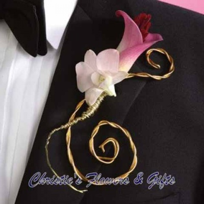 Orchid and Calla Lily Metal Twist Boutonniere