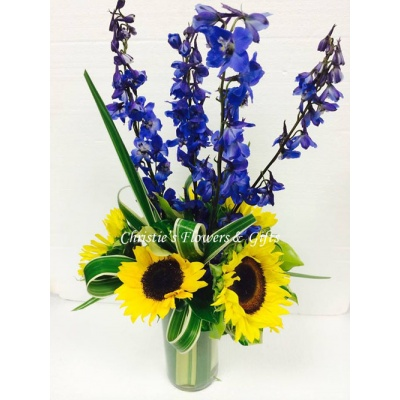Sunflowers & Delphinium