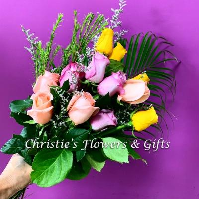 One Dozen Mixed Roses - Hand Tied Bouquet